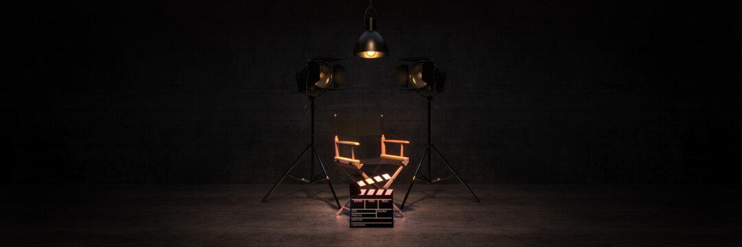 Video, movie, cinema concept. Director's chair and movie clapper. 3d rendering