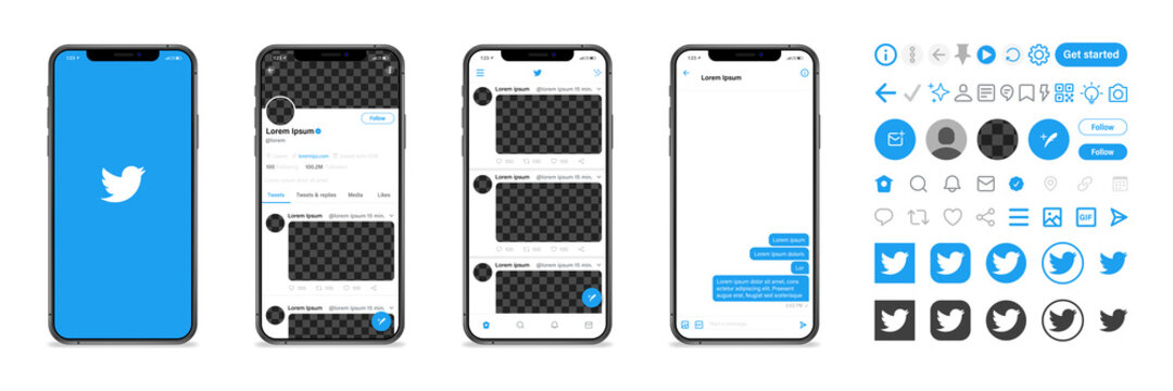 Twitter. Twitter mobile App interface template on Apple Iphone mockup. Mockup page template. Editorial vector illustration. Vinnitsa, Ukraine - September 27, 2020