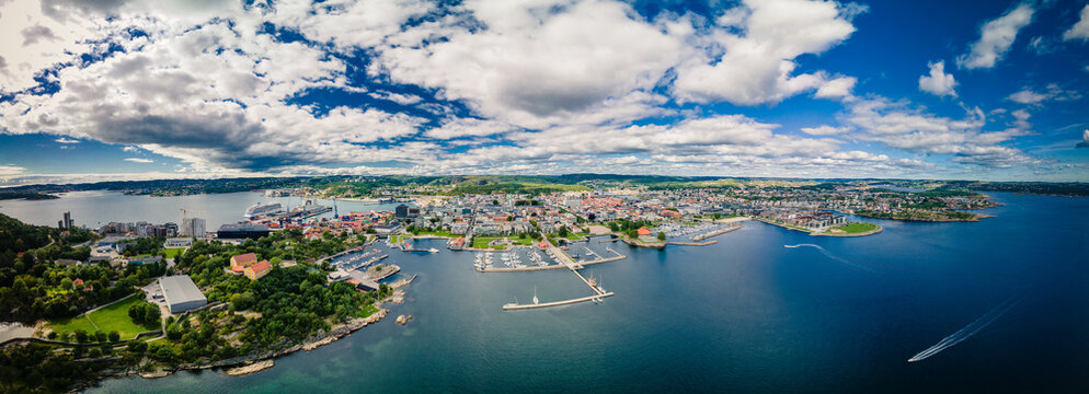 Drone view of Kristiansand and Kvadraturen from Oderoya, Norway