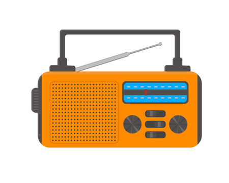 Portable radio with flashlight for emergency, camping, survival, tourism, hiking. Vector flat illustration