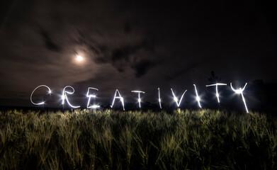 The Word Creativity, Written With a Flashlight