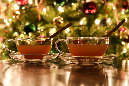 Mulled Wine with Spices by the Christmas Tree