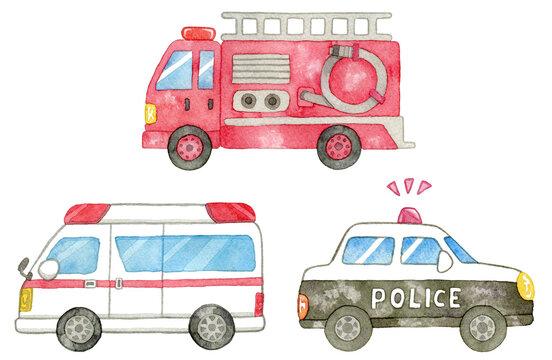 イラスト素材:緊急車両セット