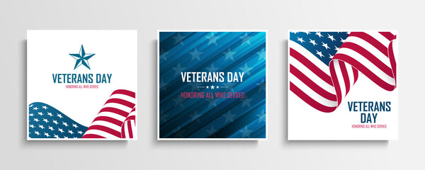 United States Veterans Day celebrate cards set with american waving national flag. Honoring all who served. Vector illustration.