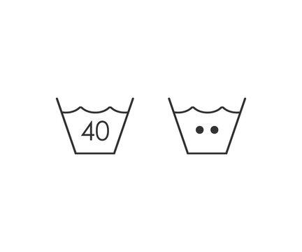 Laundry, machine, washing 40c icon. Vector illustration, flat design.