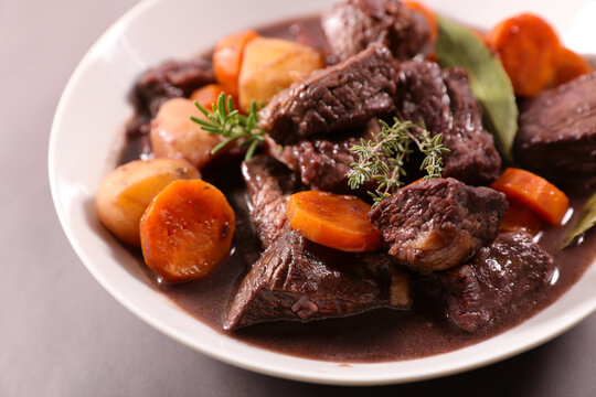 beef bourguignon- beef stew with carrot and wine