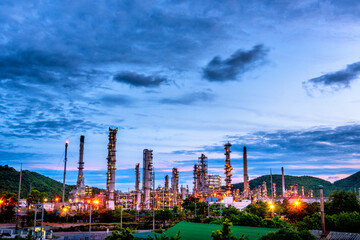 Oil refinery gas petrol plant industry with crude tank, gasoline supply and chemical factory. Petroleum barrel fuel heavy industry oil refinery manufacturing factory plant. Refinery industry concept
