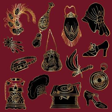 1920s Art Deco Accessories Set. Cartoon style. Stock Illustration.