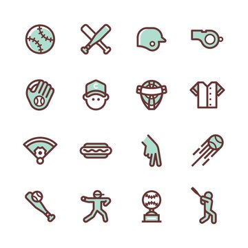 Collection of baseball icons on a white background