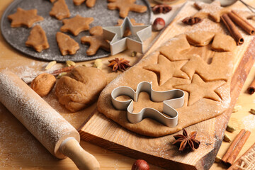 making of traditional christmas gingerbread cookie