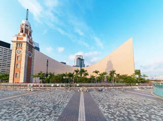Fototapete - Historical landmark clock tower in Hong Kong city