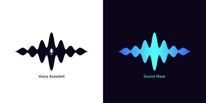 Sound wave shape with microphone for virtual voice assistant. Abstract audio wave, voice command control, waveform