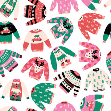 Ugly Christmas sweaters seamless vector pattern background