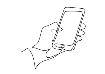 Continuous one line drawing of gesture hands and touch the screen of smartphone. Making online stories or streaming in social networks. Transaction on online. Gadget device concept