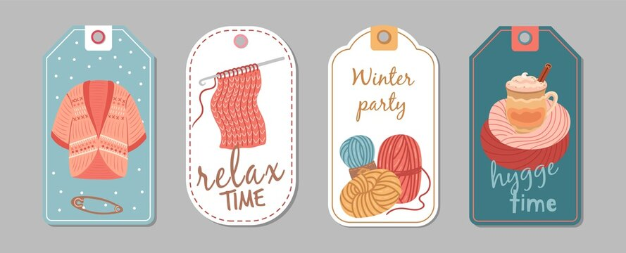 Autumn winter season labels. Knitting hobby, hygge time banners. Wool cardigan, latte or cacao cup vector stickers template. Handmade hobby, winter sewing and needlework template tag illustration