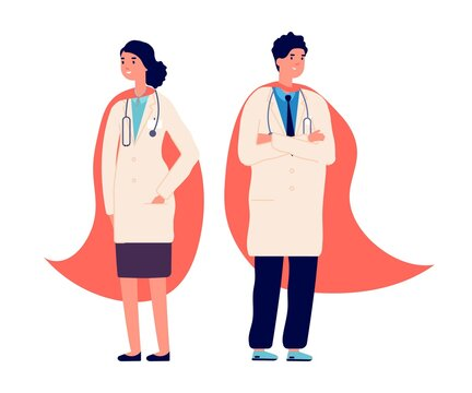 Doctor superhero. Medical team, doctors wear red super hero cape. Hospital worker, nurse emergency staff. Medicine protection life in virus pandemic, healthcare vector illustration. Superhero pandemic
