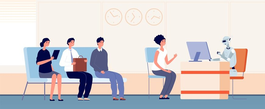 Robotization. Robot serve customers, android bank worker. People waiting line to support service in office vector illustration. Hr robot, career robotic, employment and recruitment