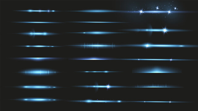 Package Blue horizontal lenses, glare, laser beams, glare, light rays, glowing stripes on a dark background, abstract glowing background.