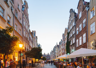 Cobblestone streets of Gdansk with rows of colorful, narrow houses in Dutch style, Poland