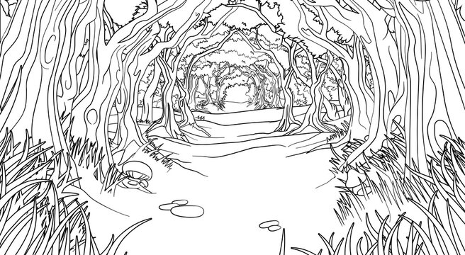 A fairytale fantasy magic woodland forest trees tunnel background landscape scene. Outline black and white coloring book page