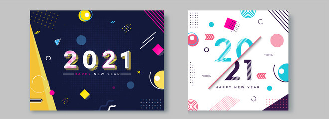 Fototapeta 2021 Happy New Year Text on Abstract Geometric Background in Two Color Option. obraz