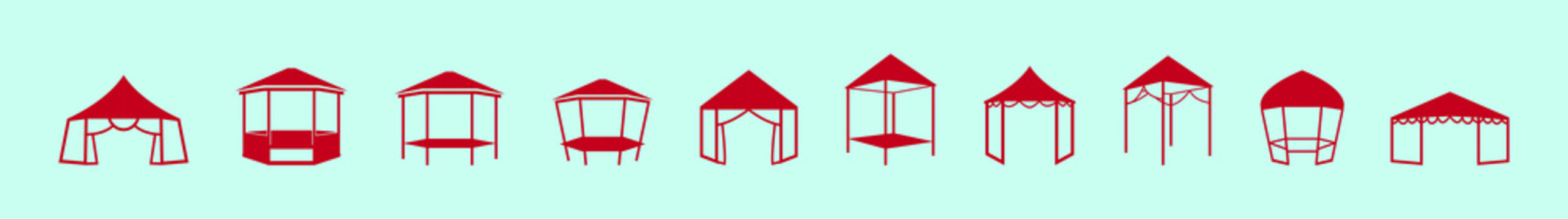 set of gazebo cartoon icon design template with various models. vector illustration isolated on blue background
