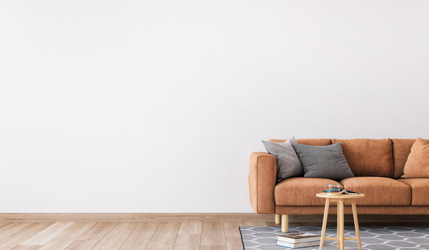 Minimal living room design, orange sofa in empty modern background, panorama