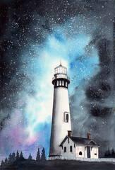 Watercolor illustration of a lighthouse on the hill at night with beautiful starry sky on the background