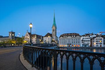 Wall Mural - Zurich city skyline with view of Fraumunster church in Switzerland