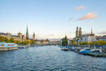 Wall Mural - Zurich city skyline with view of Limmat river in Switzerland