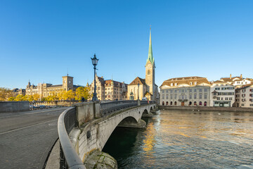 Wall Mural - Sunrise with view Zurich city in Switzerland
