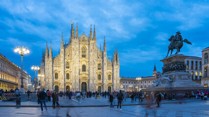Wall Mural - Duomo of Milan at night with crowd of people in Milan, Italy
