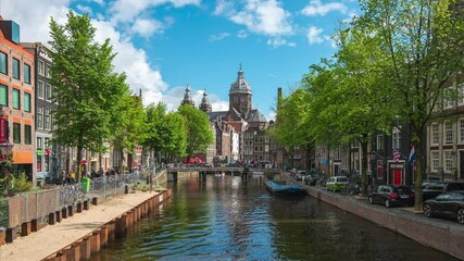Wall Mural - Amsterdam city skyline and canal video time lapse in Amsterdam, Netherlands