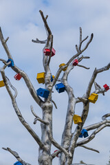 Multicolored wooden birdhouses on tree