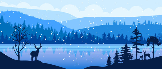 Winter panoramic vector landscape with snow, reindeer, hills, forest outline, frozen lake. Christmas holiday background with pines silhouette, river, mountains. X-mas winter landscape with north view