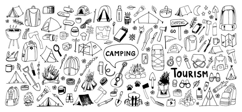 Huge hand drawn vector camping clip art set. Isolated on white background drawing for prints, poster, cute stationery, travel design. High quality illustrations