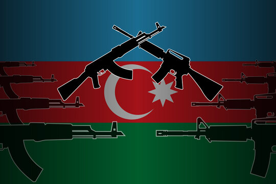 Armed, military conflict and confrontation in Azerbaijan - silhouettes of crossed assault rifles