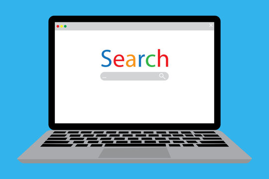 Search bar on the screen. Search for a browser on a laptop. Search tab. Vector illustration. Stock image.