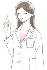 指差しでポイントを示す白衣を着た女性