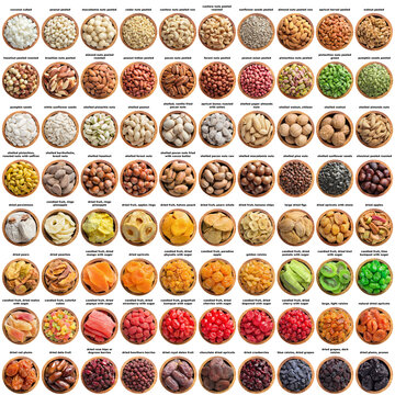large set nuts seeds, candied and dried fruits isolated on white background. organic food in wooden plate, top view.