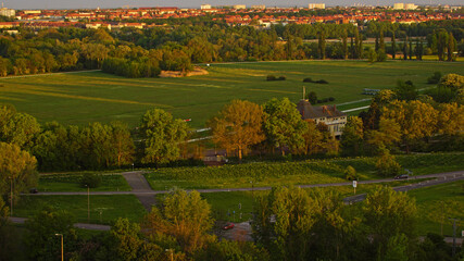 View over Halle Saale in the sunset