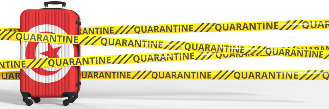 Flag of Tunisia on a suitcase and quarantine stripes, coronavirus pandemic tourism restrictions concept. 3d rendering