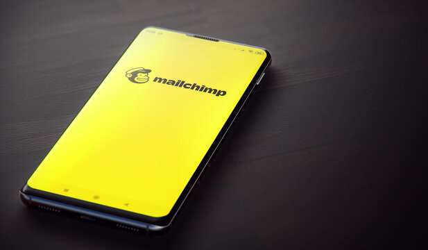 KYIV, UKRAINE-JUNE, 2020: Mailchimp Mobile Application on the Cellphone Screen. CloseUp Studio Shot of Smartphone with Mailchimp Application.