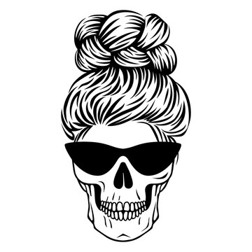 Mom life skull. Female skull with glasses with hair. Boho print in outline style. Vector Messy bun.