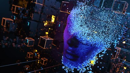 Wall Mural - Face consisting of blocks. Artificial intelligence concept. 3D animation