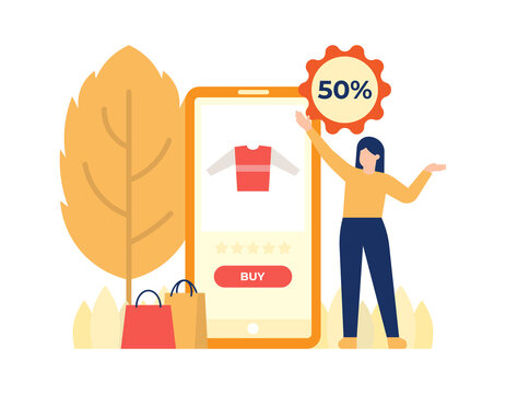 illustration of a woman who wants to buy goods using an online shopping application on a smartphone. autumn sale, discount, e-commerce .flat design. can be used for elements, landing pages, UI