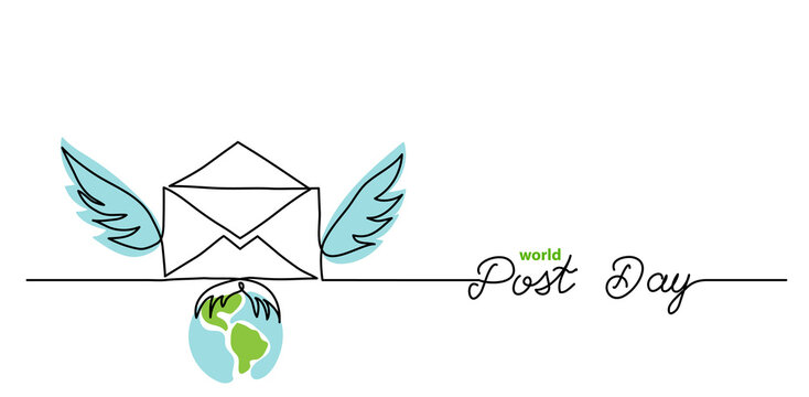 World post day simple web banner, background. One continuous line drawing of mail with wings with text Post Day.