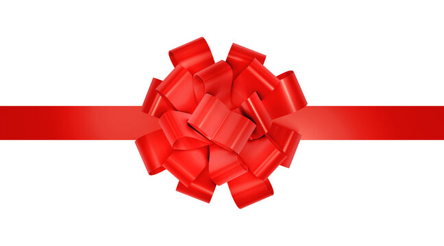 Red ribbon for christmas present. Decorative red gift festive ribbon isolated on white. 3d rendering.
