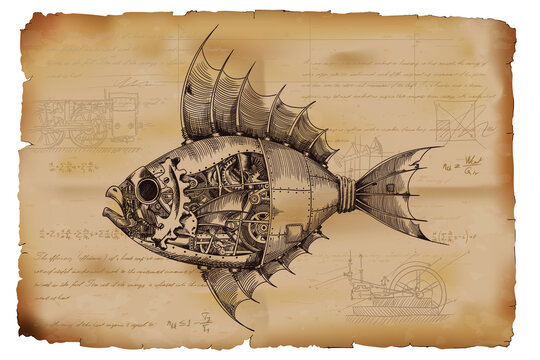 Fish with a metal body on mechanical control in steampunk style on the background of old crumpled paper with drawings, formulas and technical notes.