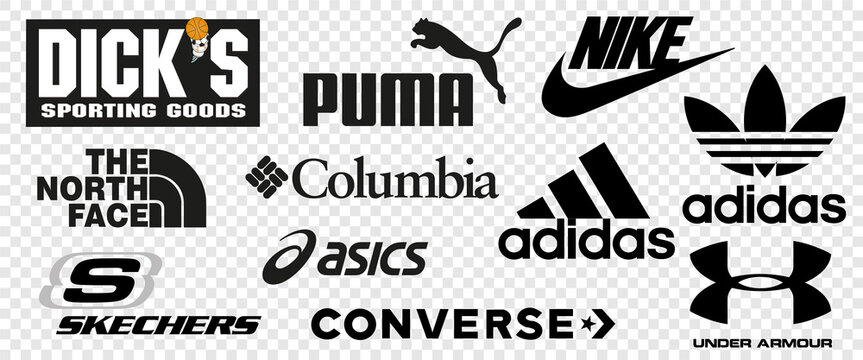 Top 10 logos of popular sportswear brands. Logo Nike, Adidas, Under Armour, DKS, Puma, Sketchers, Columbia Sportswear, ASICS, The North Face, Converse. Vector illustration